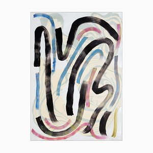 Natalia Roman, Colorful Swooshes and Swirls No.1, Mixed Media on Paper, Sumi Ink 2020