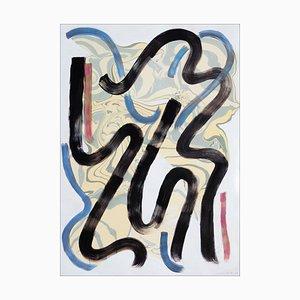 Natalia Roman, Swoings N ° 2 Colorés et Swirls, Technique Mixte sur Papier, Marbling 2020