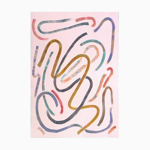Natalia Roman, Lively Movements on Pastel Pink, Acrylic on Paper, 2020