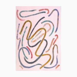 Natalia Roman, Mouvements animés sur rose pastel, Acrylique sur papier, 2020