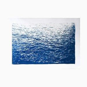 Beruhigende Meereswellen in Blau, Cyanotypie, 2020