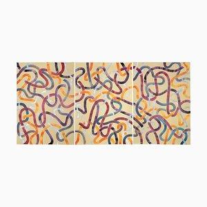 Große Warmtöne auf Beige Acryl Triptychon auf Papier gemalt, 2020