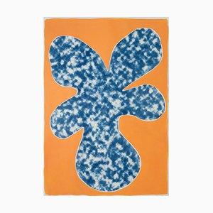 Orange tropischer Baum-Ausschnitt, Acryl auf Cyanotypie, 2020