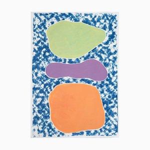 Trois ovales pastel sur cyanotype bleu et peinture acrylique sur papier, 2020