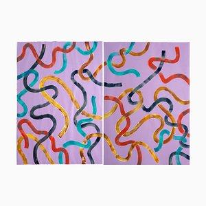 Abstraktes Diptychon vibrierender gelber Striche auf violetter Malerei, 2020