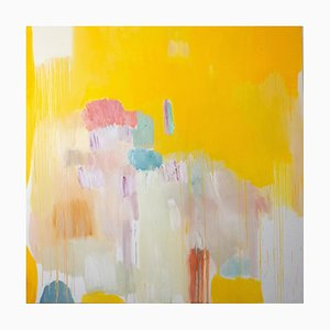 Four Seasons in Bloom Large Square Abstract Floral Oil Painting in Yellow & Pink, 2016