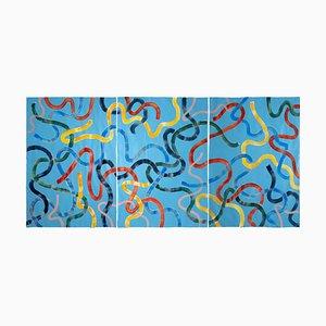 Lebendige Primärfarben auf Türkis CMYK Abstrakte Gemälde Gesten Triptychon, 2020