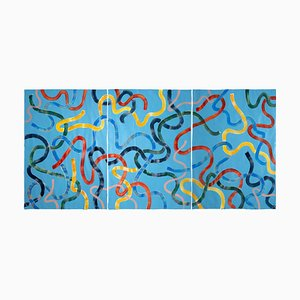 Vivid Primary Colors on Turquoise CMYK Abstract Painting Gestures Triptych, 2020