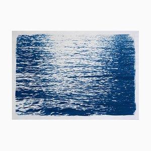 Abstrakte Kräuselungen unter Mondlicht-Cyanotypie von Wasser-Reflexionen, 2020