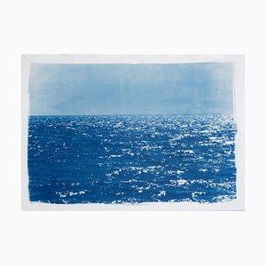 Coastal Blue Cyanotype of Day Time Seascape Nautical Painting Shore, 2020