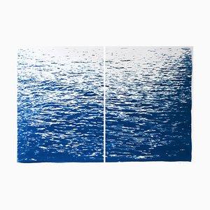 Díptico abstracto grande de cianotipo náutico con marea baja en azul clásico, 2020