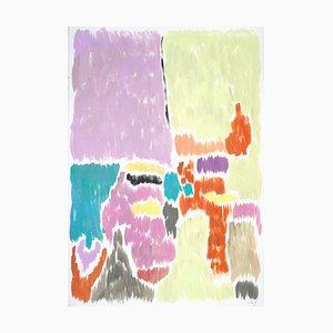 Pittura Art Deco astratta in pistacchio e malva sfocata, 2020