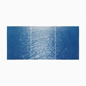 Amalfi Coast Seascape Nautical Triptych Cyanotype on Paper Sunrise Bay, 2020