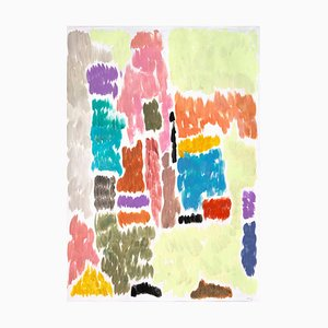 Abstract Painting on Paper of Art Deco Building Revival Geometric Impressionism, 2020