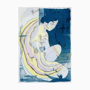 Hashiguchi Goyo Inspired Japanese Cyanotype with Yellow & Purple Marbling, Sumi, 2020