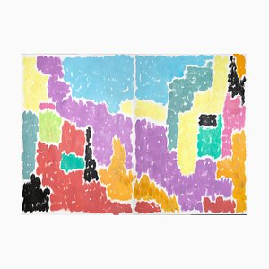 Leaving the City Art Deco Gemälde von Abstract Vivid Shapes Coral and Green, 2020