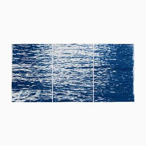 Moonlight Ripples over Lake Como Nautical Cyanotype Triptych of Moving Water, 2020