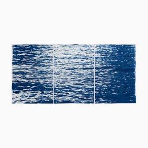 Moonlight Ripples über Comer See Nautisches Cyanotypie Triptychon von Moving Water, 2020