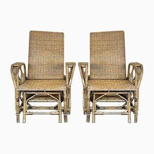 Bauhaus Rattan Lounge Chair from Erich Diekmann, 1920s, Set of 2