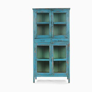 Wooden Glass Cabinet with Blue Patina and 2 Drawers