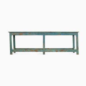 Wooden Bench with Blue Patina, 1940s