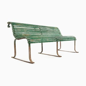 Wood and Iron Bench with Green Patina, 1940s