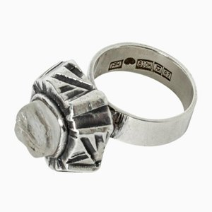 Silver and Rock Crystal Ring by Pentti Sarpaneva for Turun Hopea, 1970s