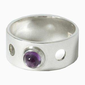 Silber und Amethyst Ring von Elis Kauppi für Kupittaan Kulta, 1962