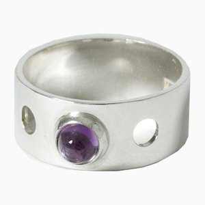 Silver and Amethyst Ring by Elis Kauppi for Kupittaan Kulta, 1962