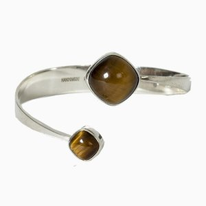 Silver and Tiger Eye Bracelet from Gussi, 1960s