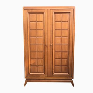 Mid-Century Cherry Wood Wardrobe by Marcel Gascoin