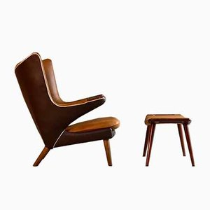 AP19 & AP29 Armchair & Stool by Hans J. Wegner for AP Stolen, 1959, Set of 2