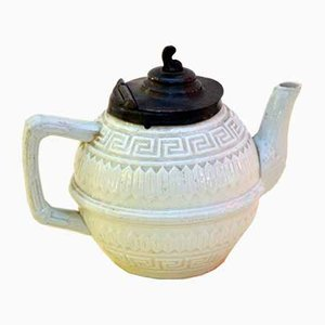 Small Victorian Salt Glazed White Ironstone Teapot with Pewter Lid, 1860s