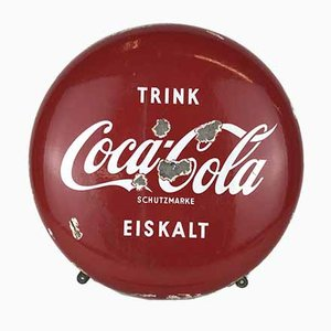 Vintage German Metal Enamel Drink Coca-Cola Button Sign, 1960s