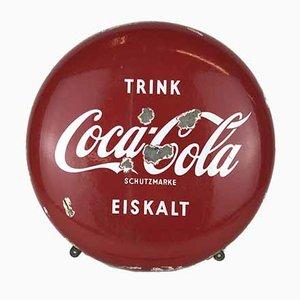 Vintage German Metal Enamel Drink Coca-Cola Button Sign, 1960s