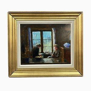 Ed Salignac, Animated Interior Near the Window, 1921, Oil On Framed Cardboard