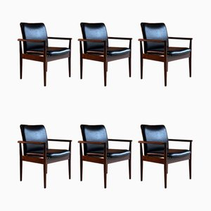 Model 209 Diplomat Chairs in Rosewood & Leather by Finn Juhl for Cado, 1960s, Set of 6