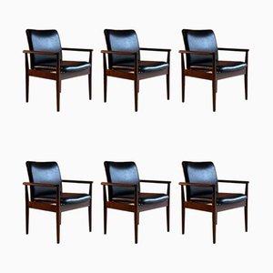 Modell 209 Diplomat Stühle aus Palisander & Leder von Finn Juhl für Cado, 1960er, 6er Set