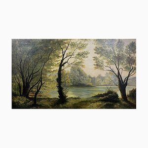 Lake Landscape in Spring, Oil on Canvas