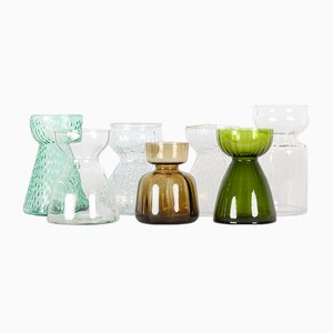 Vintage Scandinavian Hyacinth Glass Vases, 1960s, Set of 7