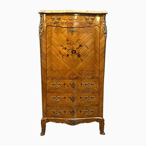 Antique Louis XV Curved Rosewood Secretaire with Inlaid Floral Decorations