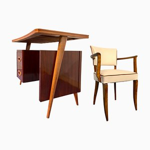 Italian Rosewood Small Desk with Chair by Vittorio Dassi, 1950s, Set of 2