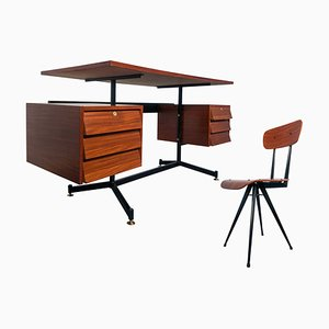Mid-Century Italian Modern Teak Desk with Chair, 1950s