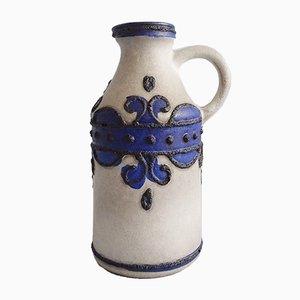 Ceramic Grey & Blue Vase with Fat Lava Decor from VEB Deutsche Werkstätten Hellerau, 1960s