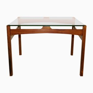 Rosewood & Smoked Glass Coffee Table, 1960s