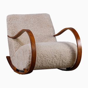 Swedish Sheepskin Rocking Chair, 1950s