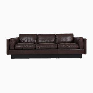 Dänisches 3-Sitzer Sofa aus Braunem Leder, 1980er