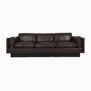Danish 3-Seater Brown Leather Sofa, 1980s