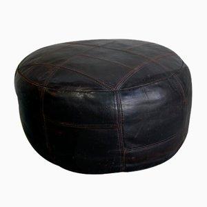 Mid-Century Leather Pouf