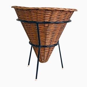 Rattan and Metal Magazine Rack from Rohé Noordwolde, 1950s